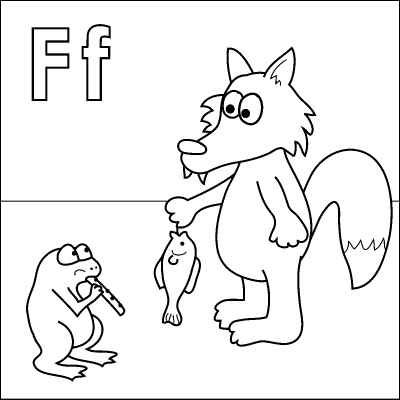 Letter F Coloring Page Fox Fish Frog Flute From