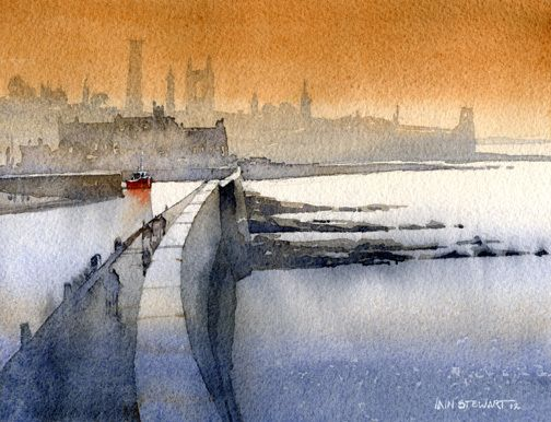 "St. Andrews from the Sea Wall by Iain Stewart Watercolor ~ 8"" x 10"""