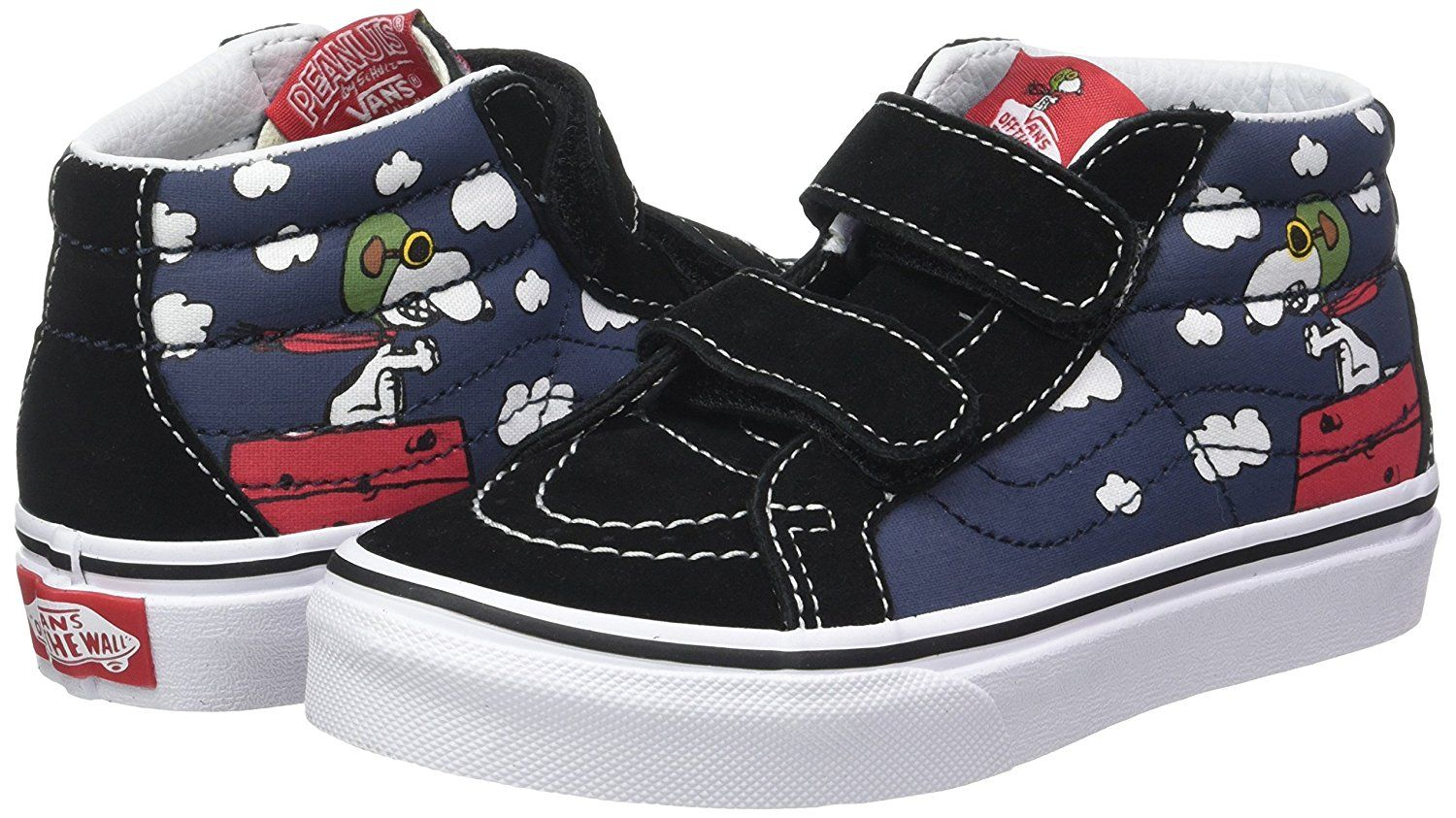 a11be7583ce52 Vans Kids Sk8-Mid Reissue V (Peanuts) Flying Ace/Dress Blues Skate ...