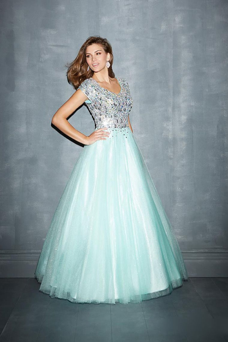 modest full beaded bodice a line dress short sleeve with tulle