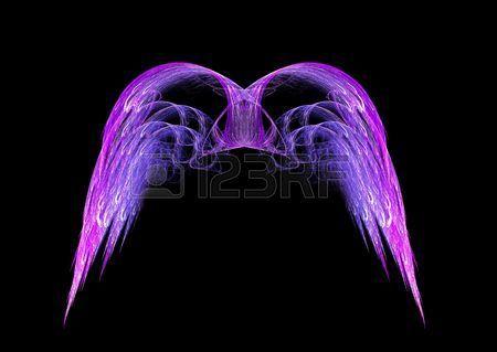Pink And Purple Angel Wings Fractal Emblem Over Black Background