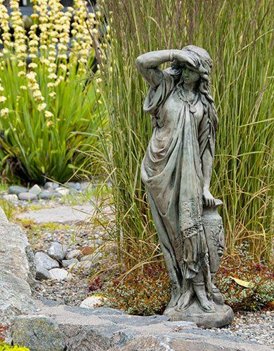 Stained Ornamental Concrete Woman Statue For Garden Or Outdoor Patio.