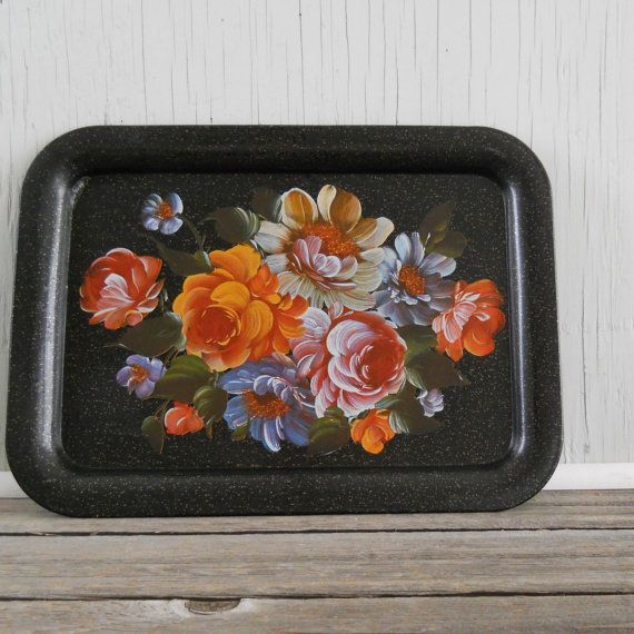 Serving Tray Large Faux Tole Painted Black by lisabretrostyle2, $10.00