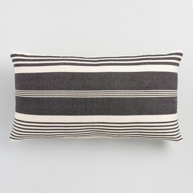 Oversized Black & White Striped Indoor Outdoor Lumbar