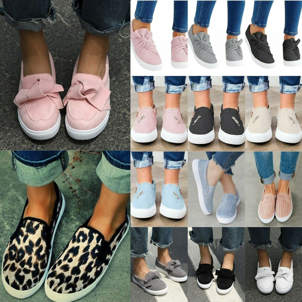 Womens Ladies Comfy Slip On Flat Pumps Trainers Casual Loafers Plimsolls Shoes