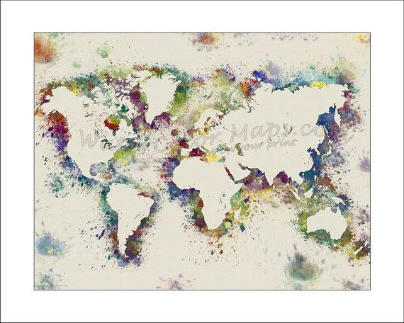 World map map of the world world political map watercolor map art splatterartworldmappaintedmapscustommapbywatercolormaps1850 publicscrutiny Image collections