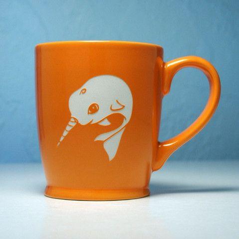 Orange Narhwal Mug - Bread and Badger Gifts
