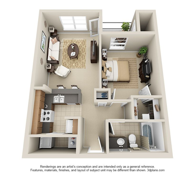 One Bedroom A1 Condo Floor Plans Apartment Layout House Layouts
