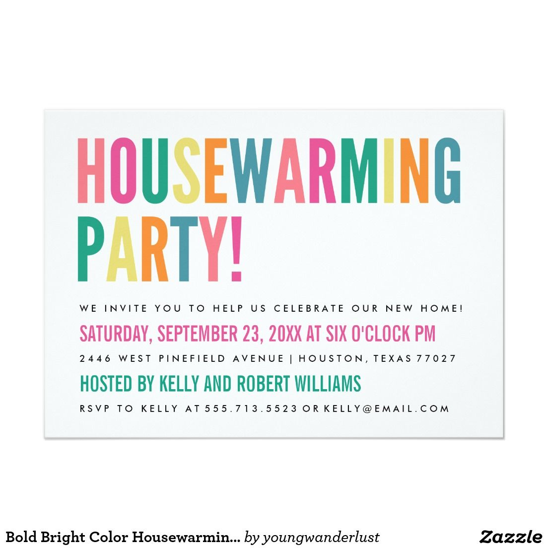 Bold Bright Color Housewarming Party Invitation | Housewarming party ...