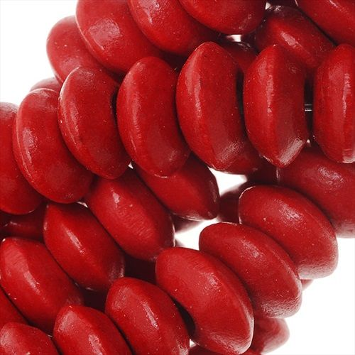 SMOOTH PAINTED MAPLE WOOD BEADS RONDELLE 9 10MM 16 INCH STRAND RED from beadaholique.com