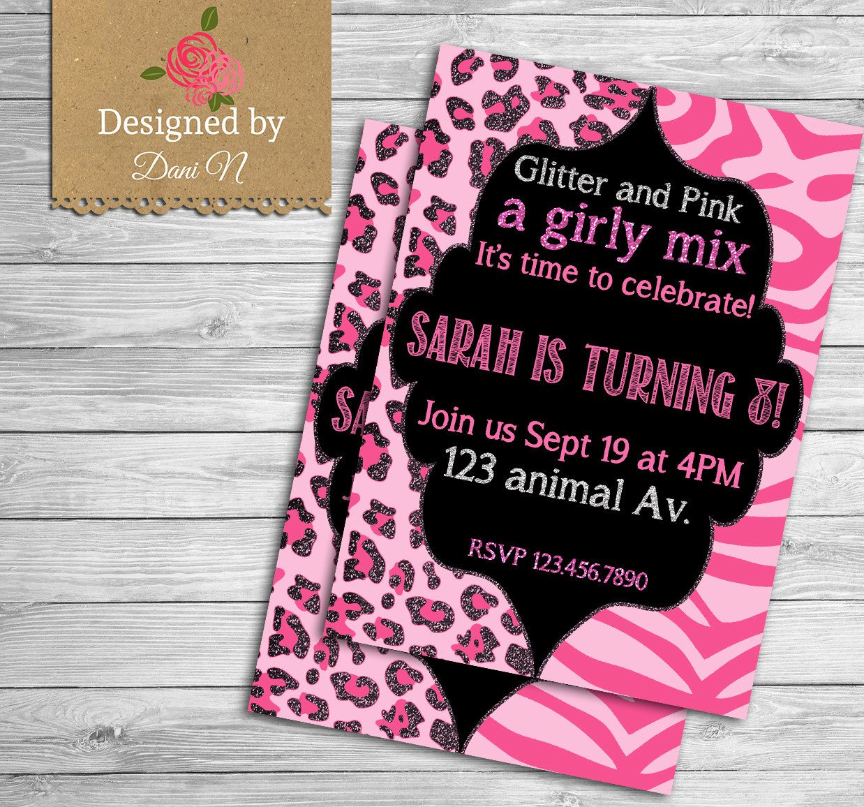 Animal print birthday invitation / girly party invite / pink and ...
