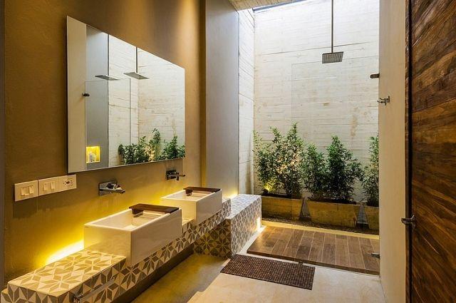 Modische Badfliesen Waschbecken Muster Mediterran Warm Flachdachhaus Modernes Badezimmerdesign Badezimmer Design