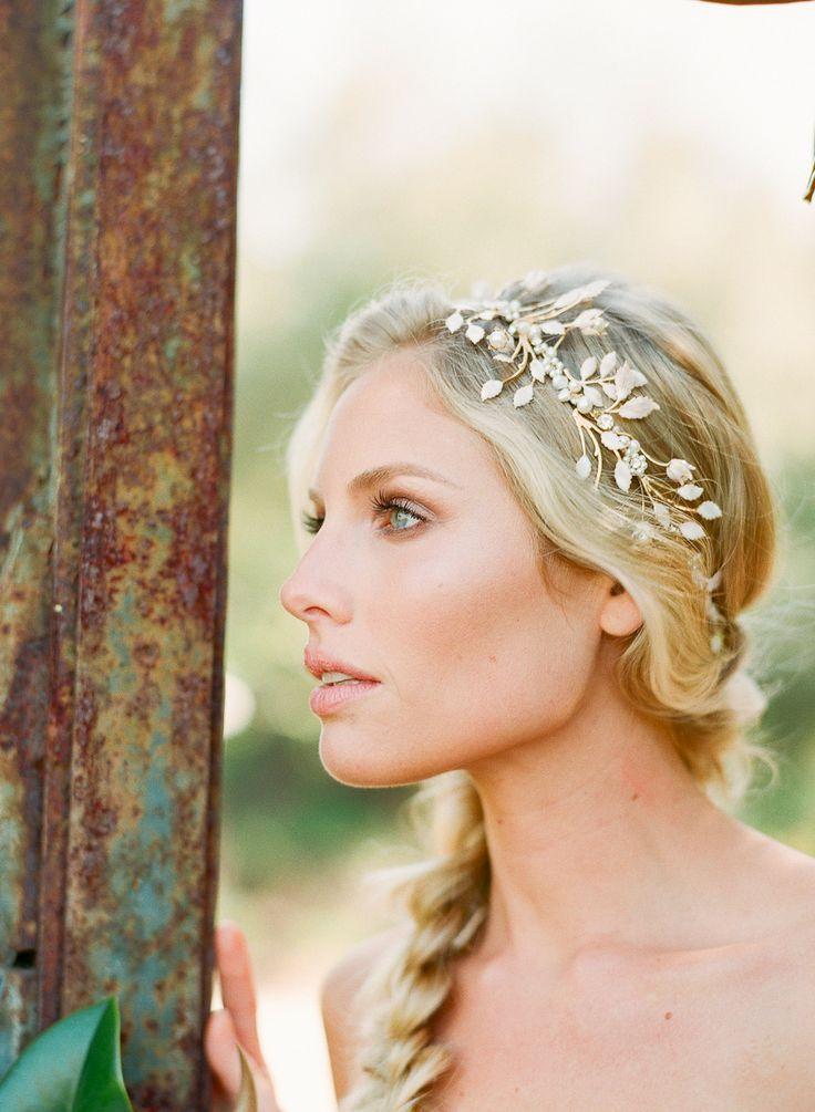 idée coiffure mariage headband couronne perlée tresse