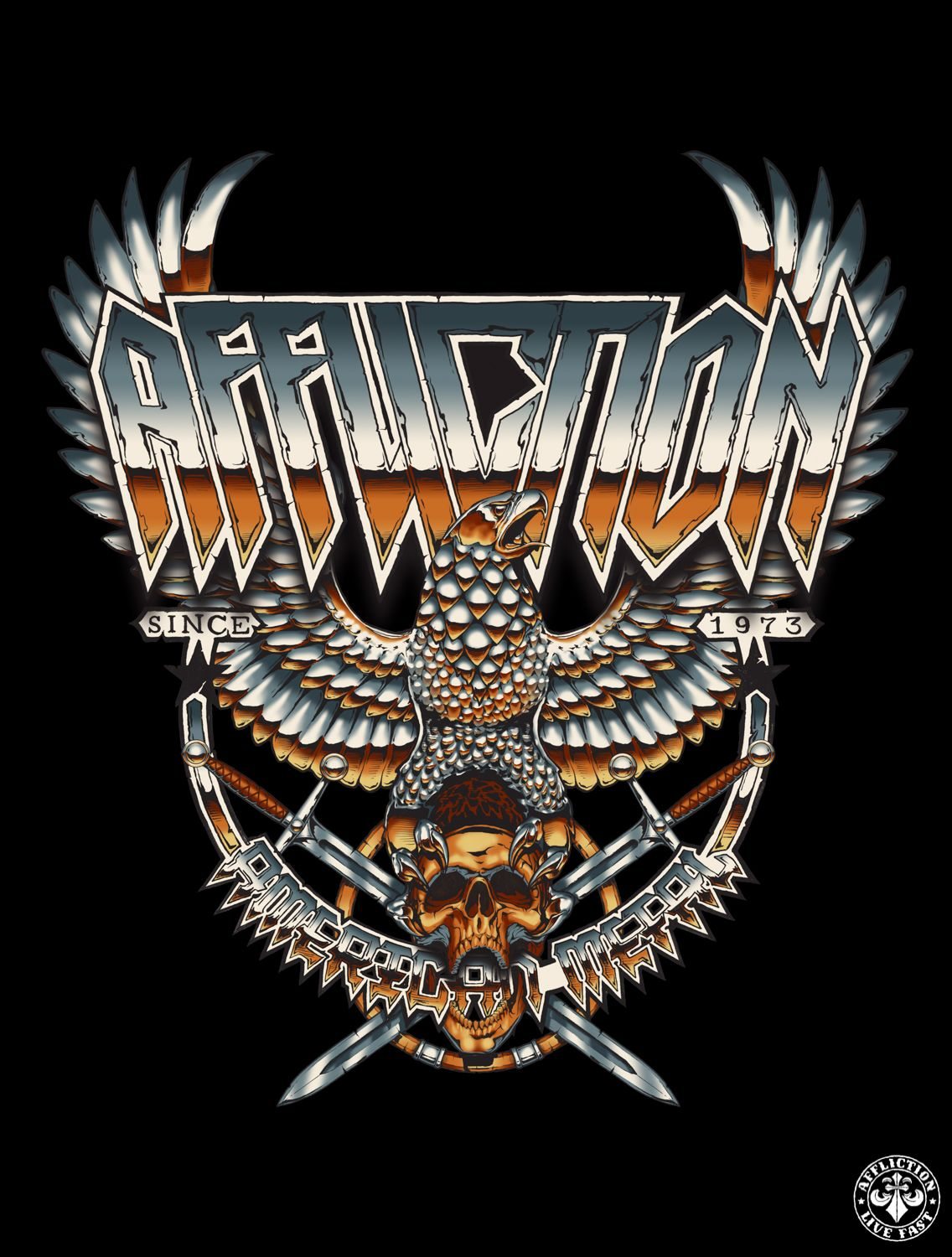 Metal T Shirt Design   Affliction Metal Storm Designed To Look Like An Old 80s Heavy