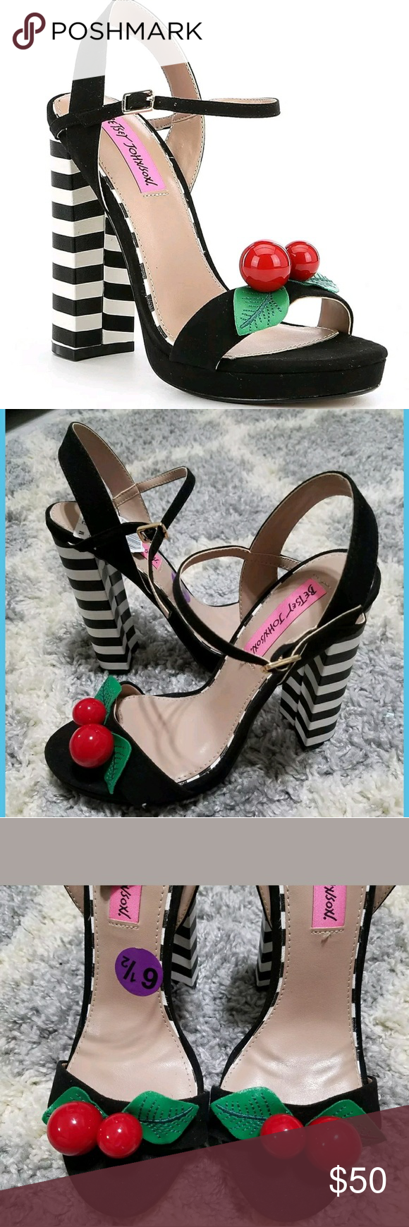 ff70fb4a859 Betsey Johnson Izzie Cherry heels sandles 6.5 Betsey Johnson Women s Izzie  Dress Sandal Heel Wild Cherry