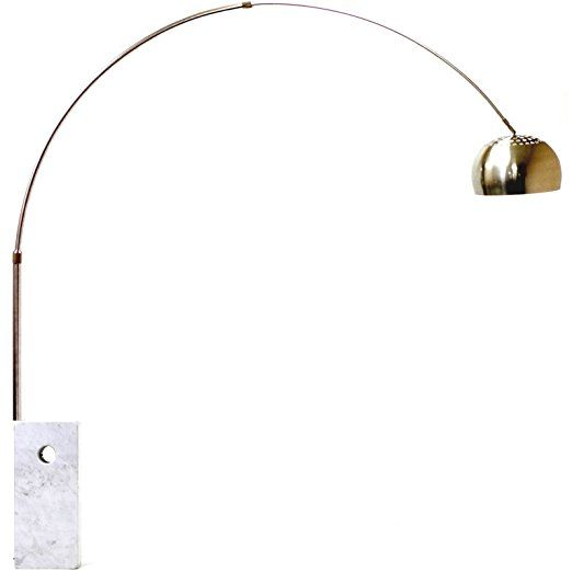 LexMod Arco Style Lamp with Large White Cube Marble Base | New Apt ...