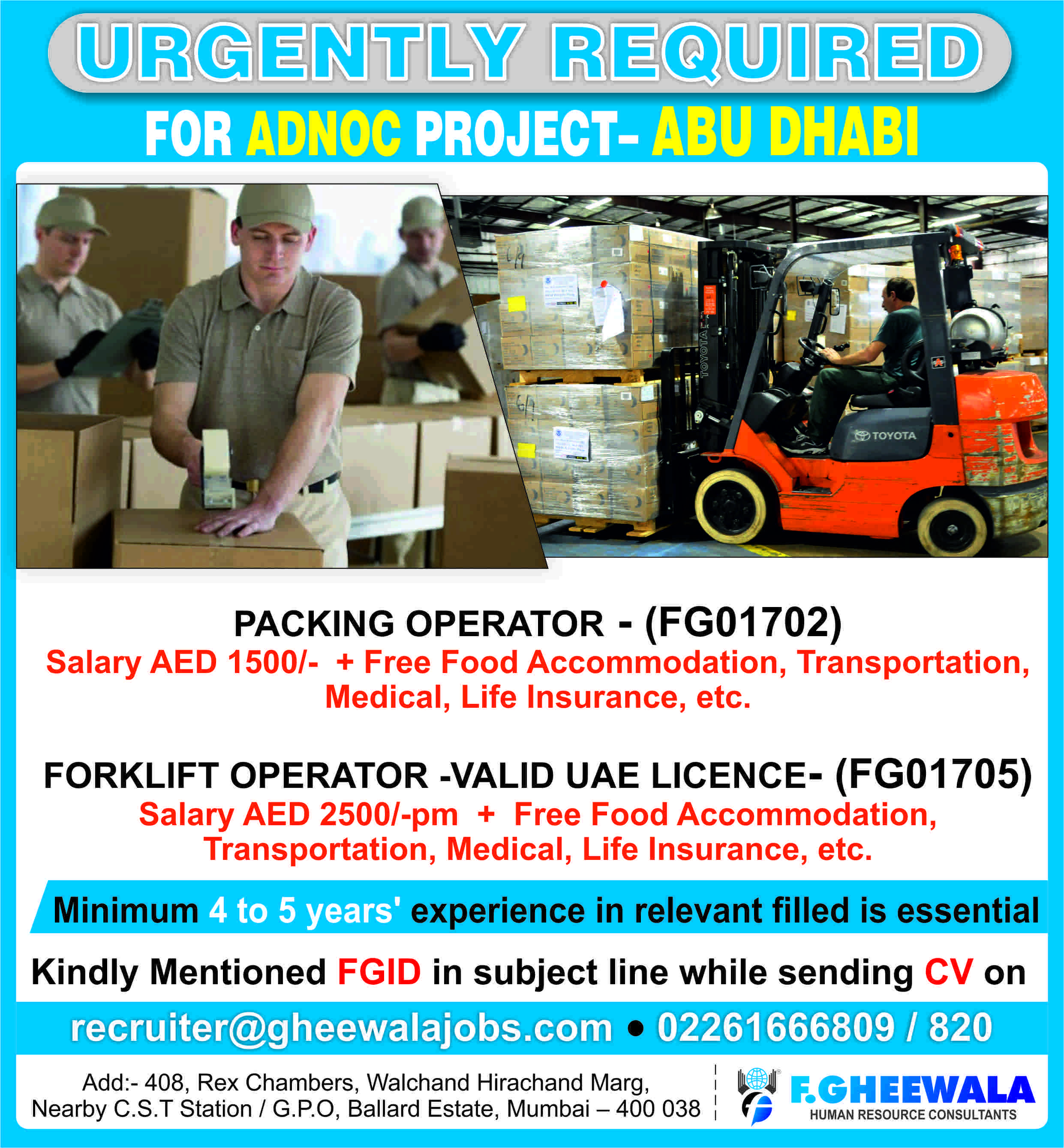 Urgently Required Packing Operator & Forklift Operator for ADNOC