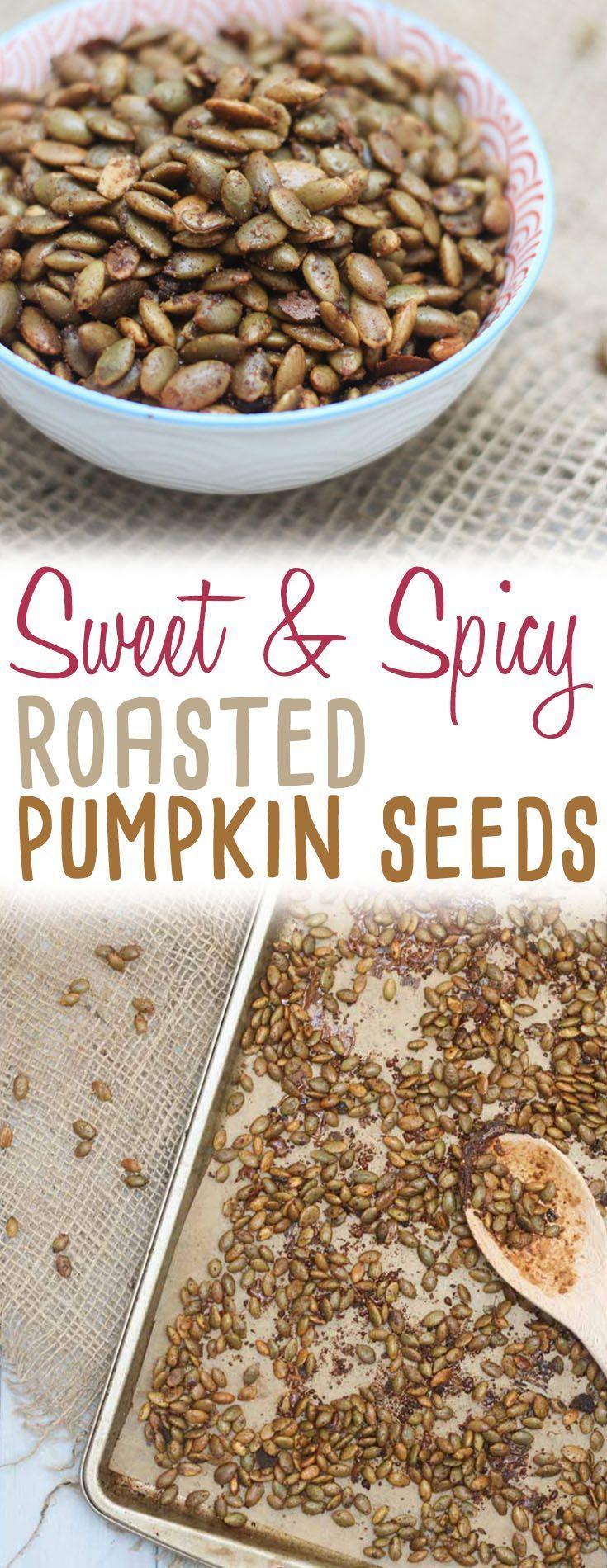 Sweet and Spicy Roasted Pumpkin Seeds   Gluten Free & Vegan Snack! - Abbey's Kitchen