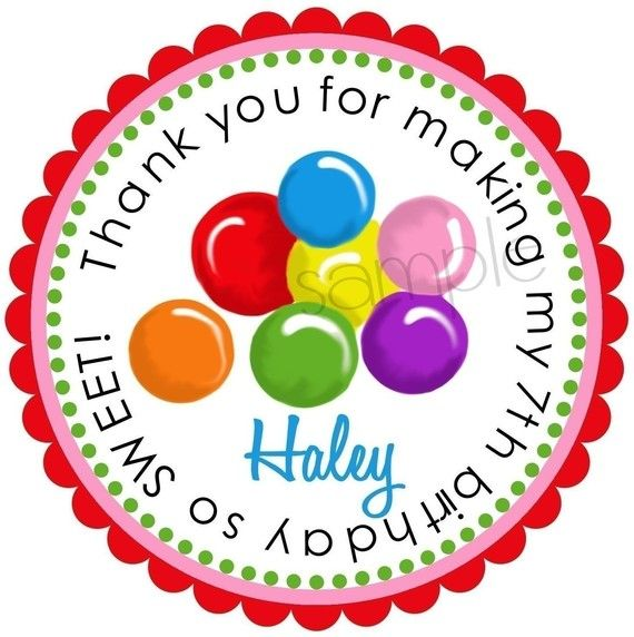 Candyland Stickers, Gumballs, Birthday party, Candy, Labels, Tags, Seals, Birthday, Favor, Kids, Children, Gift stickers, set of 12