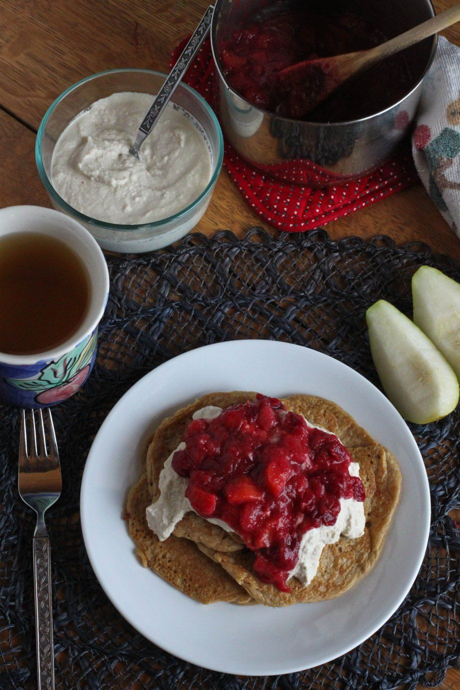 Millet Pancakes with Vanilla Cashew Cream and Fruit Compote