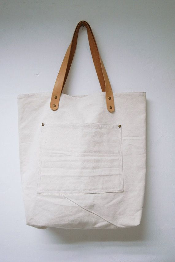 Leathinity - Beige Canvas Tote Bag w/ Genuine Leather Handles ...