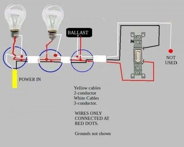 Troubleshooting problem wiring power>two fluorescent