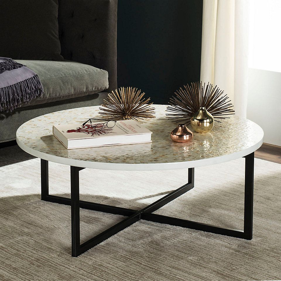 Safavieh Rue 36 In White Medium Round Wood Coffee Table Fox8207a The Home Depot Round Glass Coffee Table Coffee Table White Round Coffee Table [ 1000 x 1000 Pixel ]