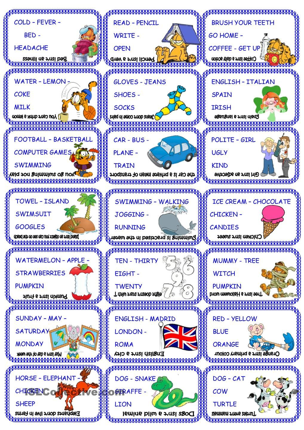 Odd One Out Cards Speaking Activities English Learning Support English Lessons [ 1440 x 1018 Pixel ]