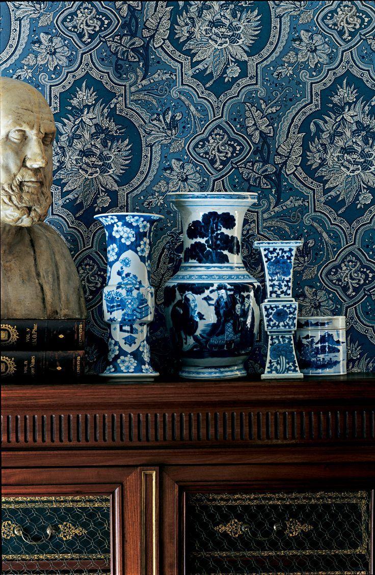 Ralph Lauren - Pattern Mash-Up: Porcelain vases and floral wallpaper ...