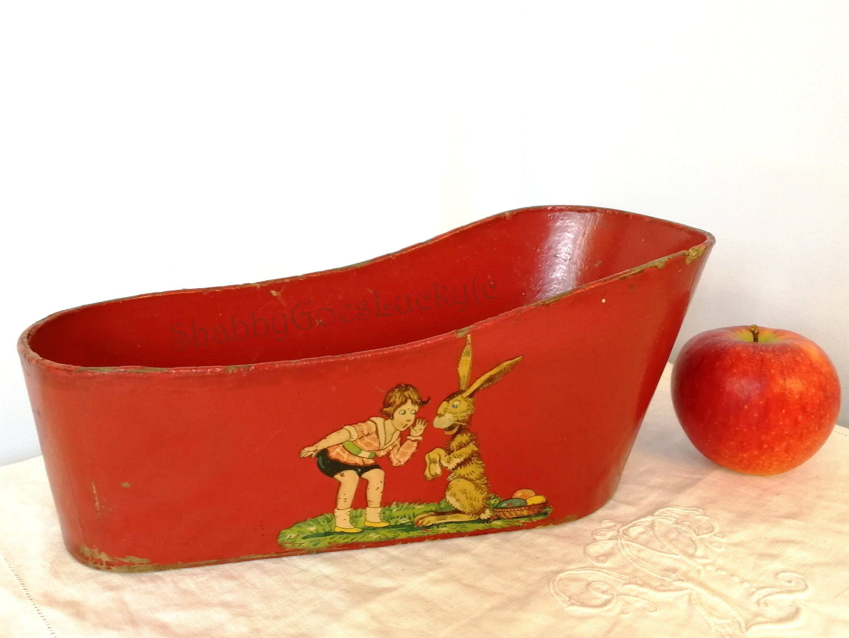 Antike Puppe Badewanne Rot 10 Lang Hergestellt In Deutschland 1914 Bis 1925 Von Anfoe Aus Pappe Ersatzmaterial Fur Zinn Badewanne Antike Puppen