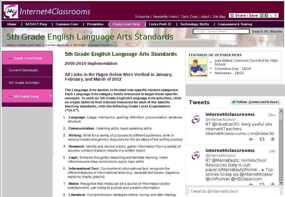Fifth 5th grade english language arts standards activities