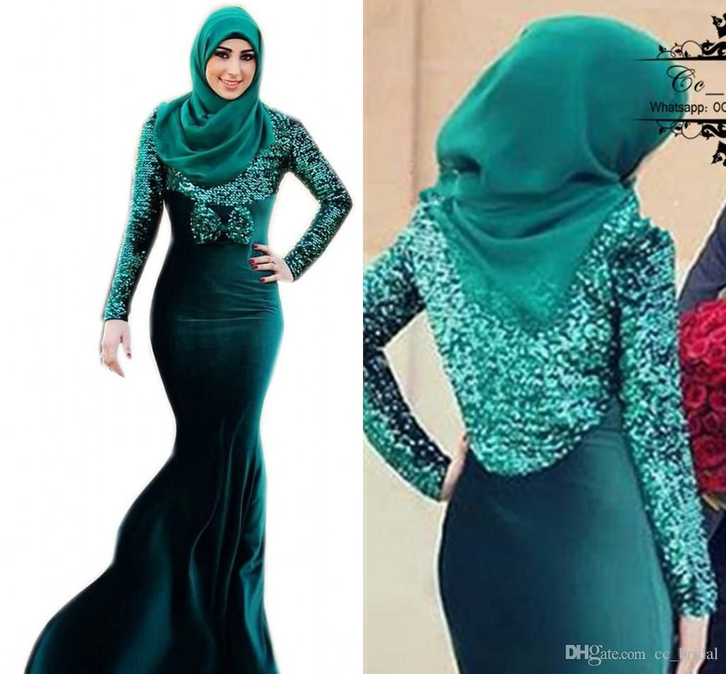 Vintage Long Sleeves Muslim Evening Dresses Sequined Dubai Abaya Kaftan Formal  Gowns Plus Size Mermaid Arabic Formal Dresses New With Hijab Evening Dress  ... 16461bc11f0e