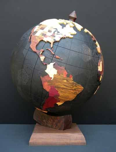 Love this globe globes pinterest globe map globe and decorating world globe project a geodesic globe of polyhedrons made out of different kinds of hardwood gumiabroncs Choice Image