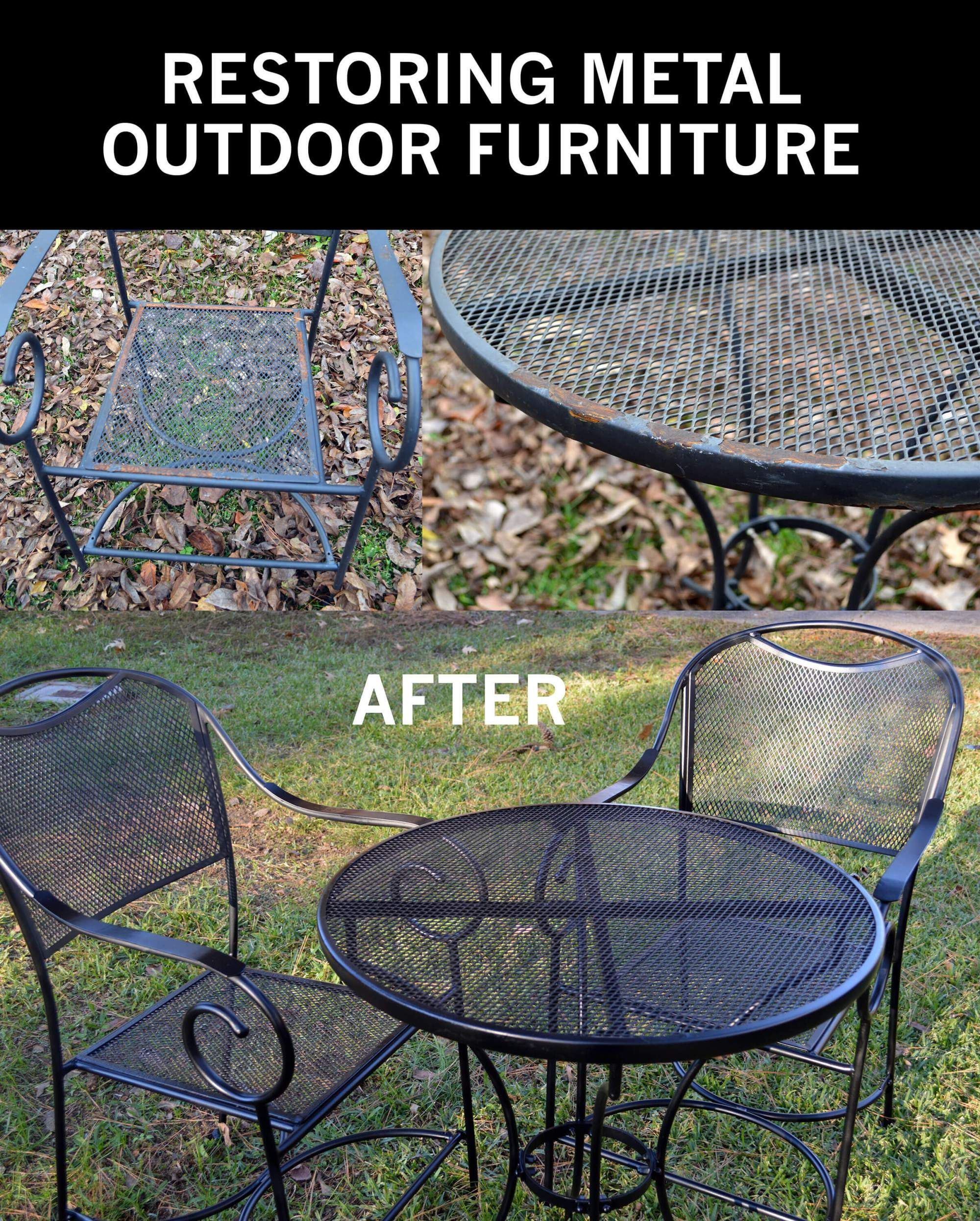 Restore Metal Outdoor Furniture To Like New Patio Furniture Makeover Metal Patio Furniture Wrought Iron Patio Furniture