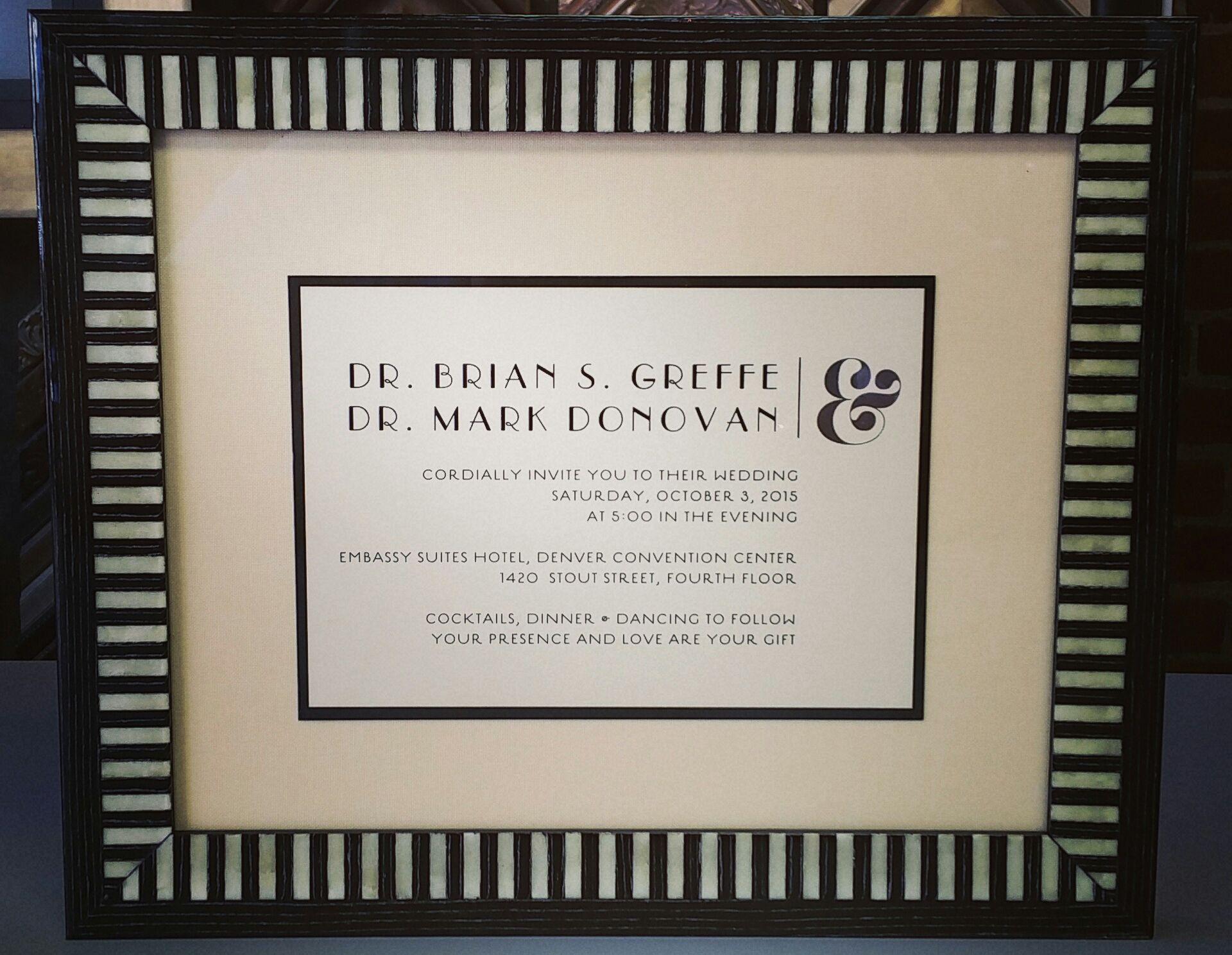 Custom framed wedding invitation using two acid-free mats, museum ...