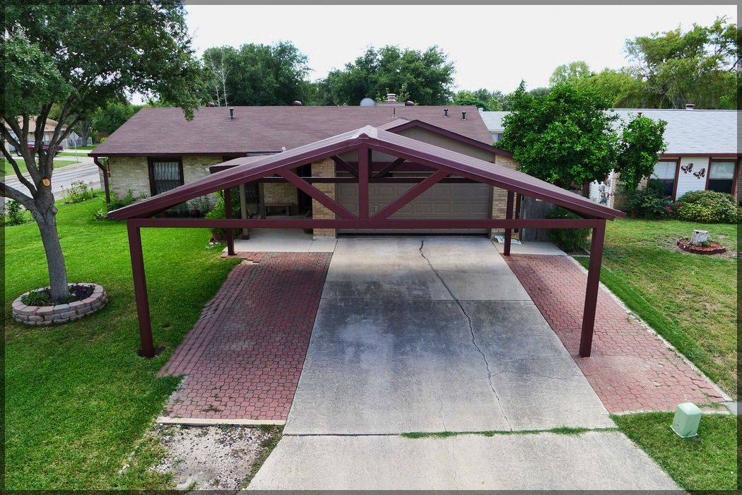 flat roof oak carport Google Search PergolaAgainstHouse