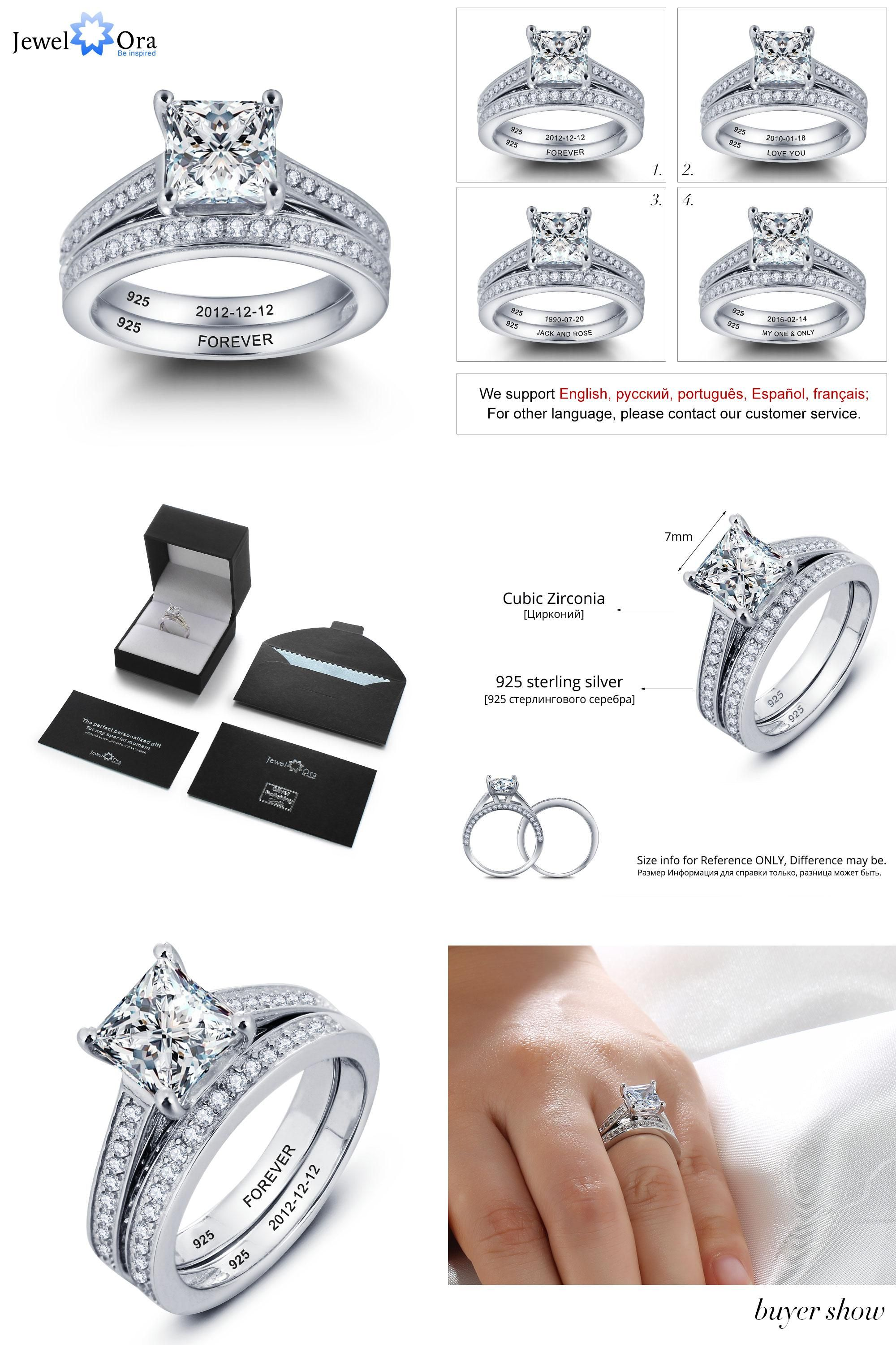 Visit To Buy Personalized Engrave Ring Bridal Sets 925 Sterling