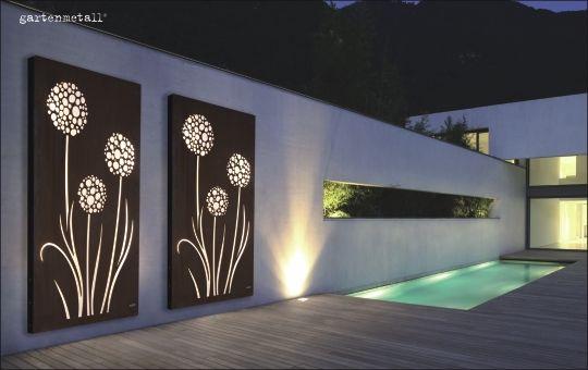 sichtschutz vista mit acrylglas einsatz und beleuchtung als wandmotiv gartenmetall. Black Bedroom Furniture Sets. Home Design Ideas