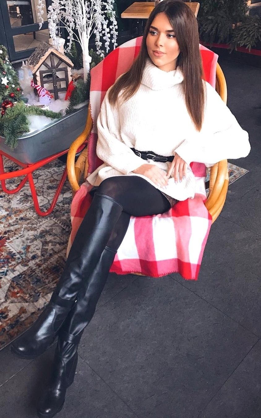 Pin By Soulnow765 On Leather Boots Tall Black Boots Outfit Dress Leather Boots Riding Boot Outfits [ 1350 x 844 Pixel ]