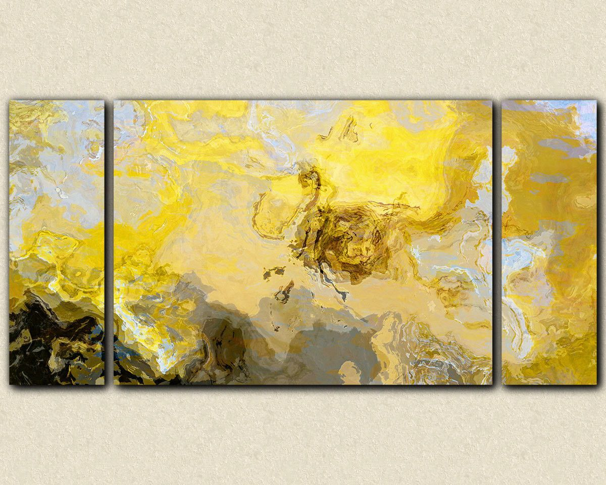 Abstract art print triptych oversize canvas print, in yellow, gray ...
