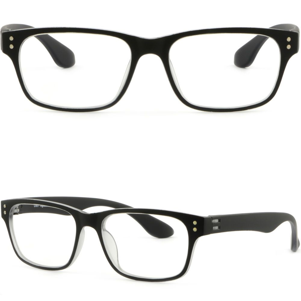 da148f471811 Lightweight Rectangular Men Women Plastic Frame Prescription Glasses Matte  Black  Unbranded