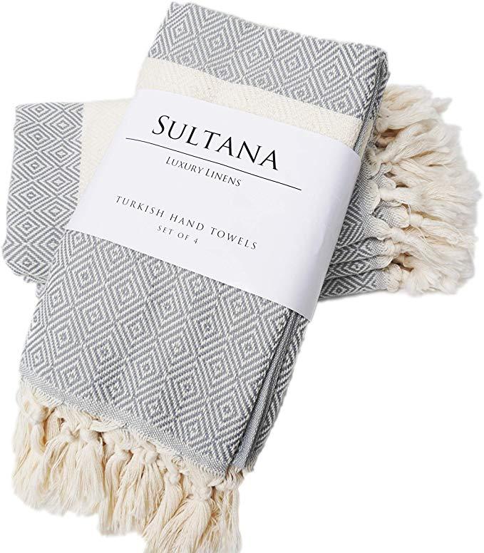 Amazon Com Sultana Luxury Linens Turkish Hand Towels Set Of 4