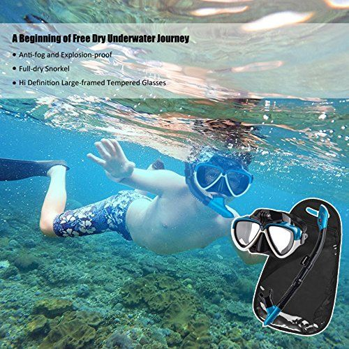 0d60411add86e Cadrim Schnorchelset Taucherbrille mit Schnorchel, Premium Erwachsene  Schnorchelset Tauchset mit 100% wasserdichte gehärtetem Glas