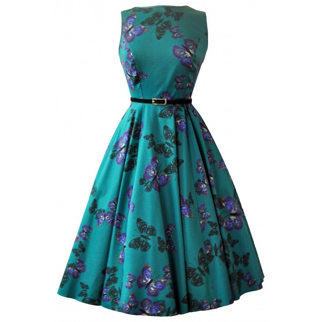 Lady V London Teal Green Butterfly Hepburn Dress