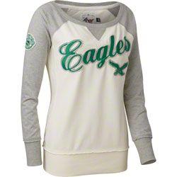 6c7798026b5 Philadelphia Eagles Women s White Retro Pullover Shirt  49.99 http   store. philadelphiaeagles.