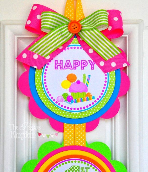 MY DOORS SIGNS CAN BE MADE TO MATCH ALL MY PARTY DESIGNS This adorable door sign is perfect to welcome your guests. Door hanger is double layered with high quality cardstocks in Hot pink, lime, orange, yellow and turquoise. Listing is for one 3-piece sign. Each scalloped circle measures 6 and are #candylanddecorations