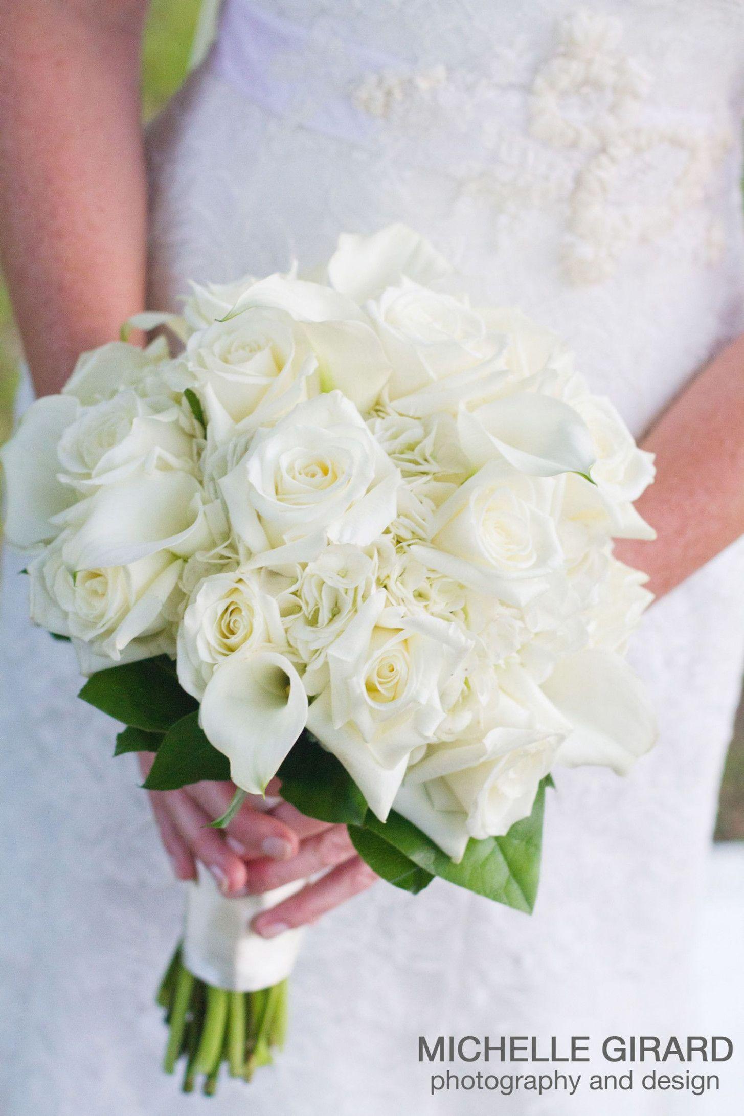 Wedding Hand Tied Bouquet Of White Roses White Hydrangea White Mini Calla Lilies Weddings Beach Flower Bouquet Wedding Calla Lily Bouquet Wedding Lily Wedding