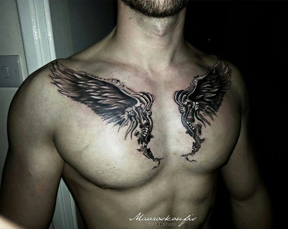 Angel Wings On Chest Collar Bone Tattoo For Men Wing Tattoo Men Collar Bone Tattoo