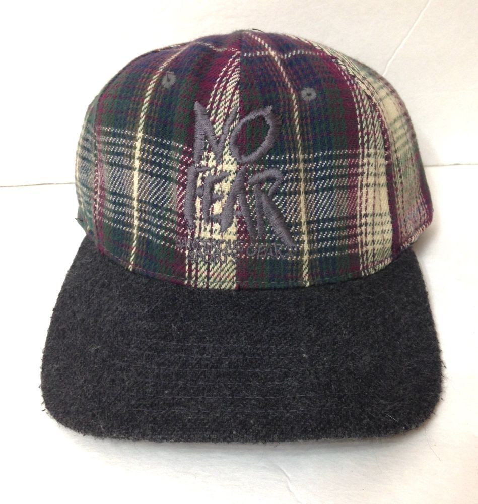 f446b3af931 AS IS old but wearable rare vtg 90s NO FEAR HAT Plaid Brown Green Red Earth  Tone  NoFear  BaseballCap
