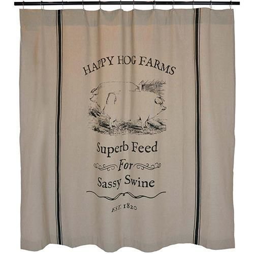 Sassy Swine Farmhouse Shower Curtain